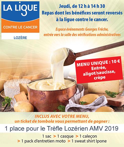 Repas special ligue contre le cancer, gagnez une place pour le Trèfle Lozérien AMV 2019 et de nombreux lots.