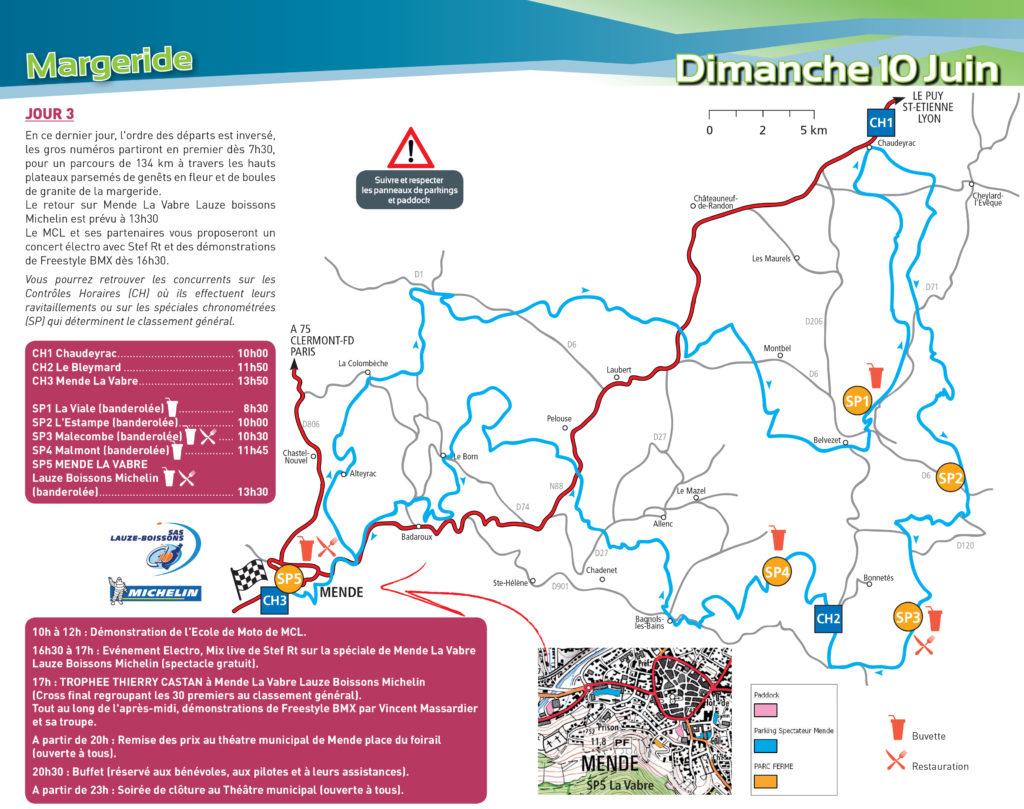 Carte du parcours Trèfle Lozérien AMV dimanche 10 juin 2018 (Cliquez que la carte pour l'agrandir).