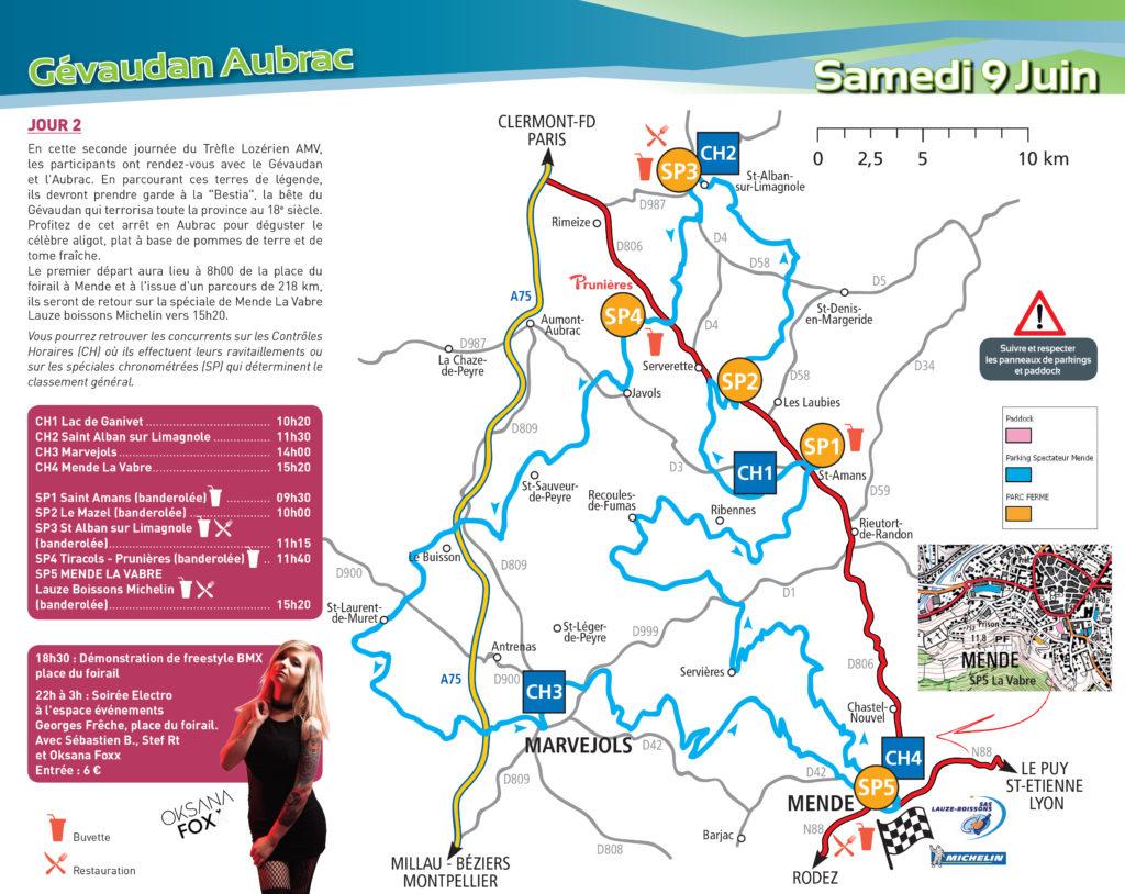 Carte du parcours Trèfle Lozérien AMV samedi 9 juin 2018