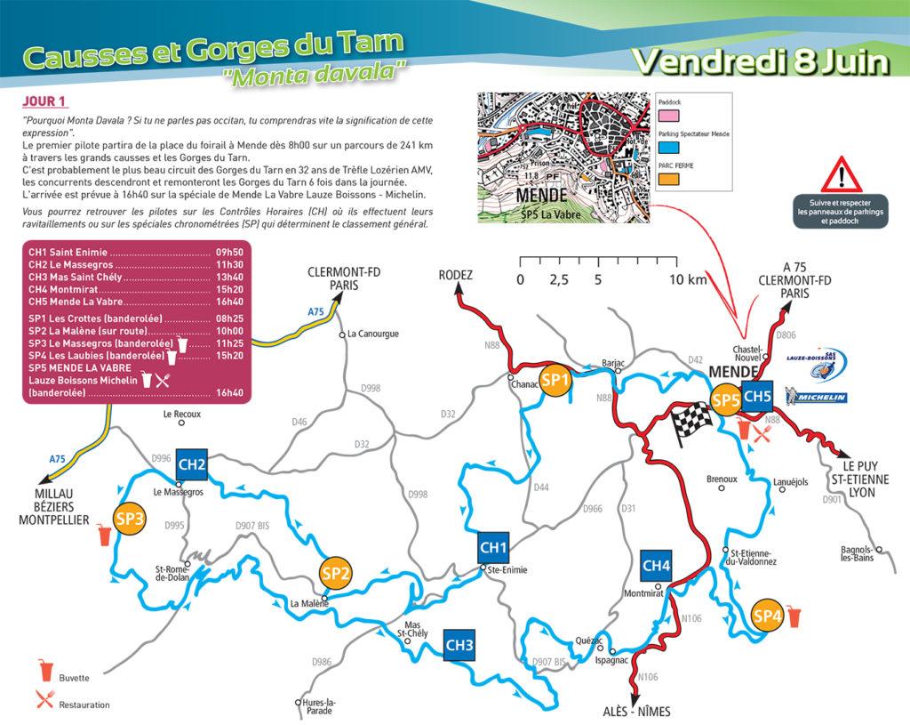Carte du parcours Trèfle Lozérien AMV vendredi 8 juin 2018
